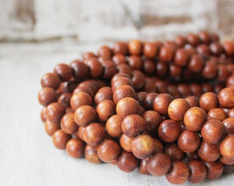 "10mm Bayong Wood Beads, Round Beads, Natural Wood Beads, 16"" Strand, Light Red Earthy Beads, Wood Beads, Nature Beads, Red Wood Beads,"