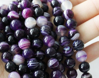 Purple Banded Agate 8mm Round Beads Jewelry Supply Bright Purple Agate
