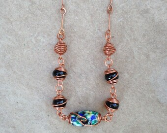 Wire Wrapped Caged Bead Necklace
