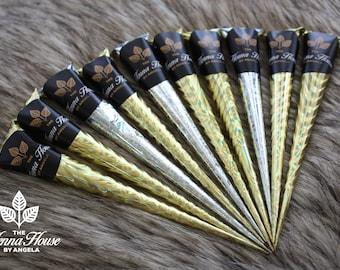 Ten 100% Natural, Fresh, & Dark Staining Henna Cones