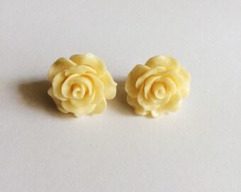 SALE Light Yellow Flower Earrings