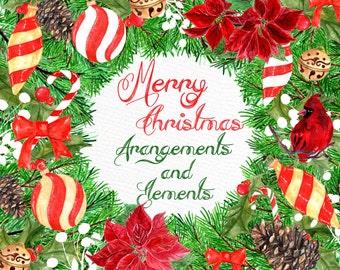 "Watercolor Christmas  clipart: ""CHRISTMAS ORNAMENTS"" Poinsettia flowers Holiday Clipart Season Clipart DIY invites Christmas decor Cardinal"