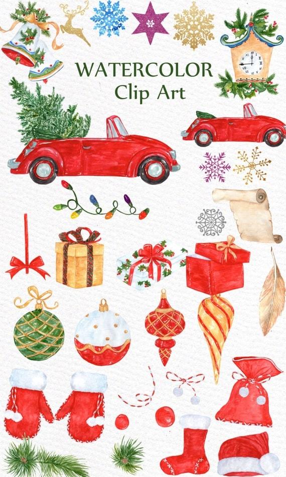 "Watercolor Christmas clipart: ""CHRISTMAS CLIP ART"" Holiday ..."