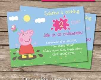 Peppa Pig inspired Printable Invitation, EDITABLE Text.