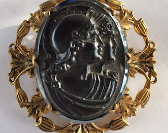 Vintage Estate Early Plastic Material Gladiator Black Cameo Pin Brooch