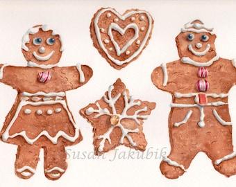 Gingerbread Cookies Watercolor, archival print