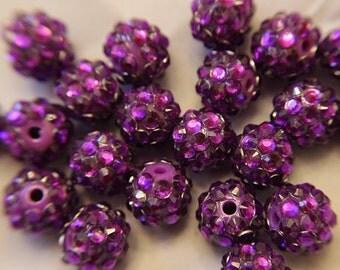 """Purple Rhinestone Disco Ball Beads (3/8"""")"""