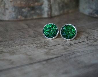 Earrings glitter Green