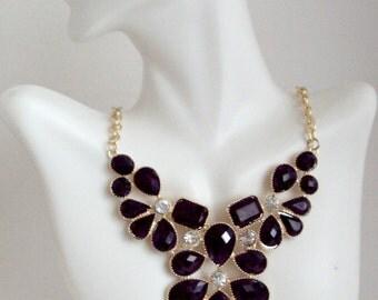 Black Necklace, Black Statement Necklace, Bib Necklace, Crystal Necklace, Gift under 15