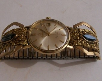 1960s Omega Seamaster 9 k gold watch with 1960s Alaskan gold nugget and hematite watch band