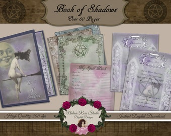 OVER 60 PAGES Vintage Style Book of Shadows/Grimoire/Journal/Printable Binder Set~ 8.5 x 11 Full Size Binder Kit ~Digital Download PRINTABLE