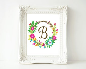 "Monogram printable art, Letter B, 8x10 Printable Wall Art, ""B"" Monogram Initial, Nursery Art, Home Art, Dorm room art"