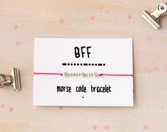 Morse code BFF, silver beaded bracelet, BFF, best friend gift, best friend jewelry, morse code friendship, best friend, friendship bracelet