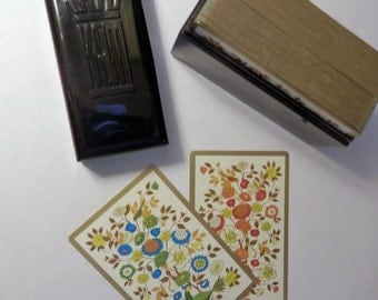 Mid Century KEM Playing Cards Partridge in a Pear Tree Blue Orange Double Deck Bakelite Case Vintage