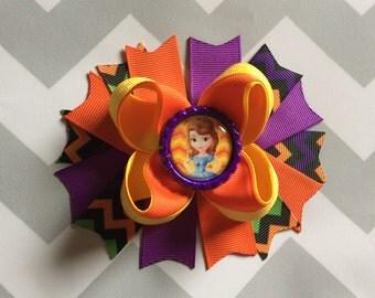 Halloween Hair Bow, Princess Sofia The First Hair Bow , Halloween Stacked Hair Bow ,Bottle Cap Hair Bow, Princess Hair Bow