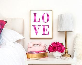 Love Print, Pink Dot Art Print, Pink Art Print, Nursery Art Print, Pink Nursery Wall Art, Dot Wall Art, 4x6 Greeting Card, 8x10 Print