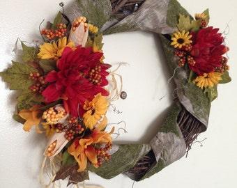 "13"" Summer Wreath - Faux Corn and Grapevine Wreath - Faux Birch Bark and Moss Ribbon - Front Door Wreath - Door Decor - Rustic Wreath"