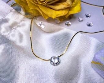 Herkimer diamond pendant, Diamond necklace, Slide Diamond pendant, 9ct solid Gold or Silver Snake necklace with 5mm Herkimer Diamond