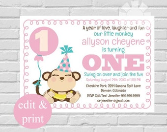 First Birthday Party Invitation | Girl First Birthday, Our Little Monkey, 1st Birthday Invitation, INSTANT DOWNLOAD