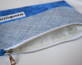 Handmade, Upcycled, Recycled Zipper Pouch, Make-Up Bag, Pencil Case, Colour Block