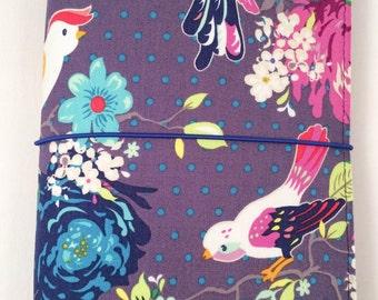 Gigi Birds Pockeedori Kit/Ready Made/Extra Wide Midori/Midori Planner/Daily Planner/Fauxdori/Fabric Travelers Notebook