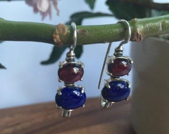 Lapis Earrings, Garnet Earrings, Natural Garnet, Birthstone Earrings, Blue Birthstone, Blue Stone Earrings, Red Stone Earrings, Red Garnet