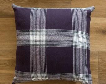 18x18 Plum & White Plaid throw pillow cover