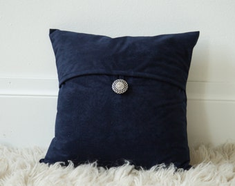 16x16 Navy Butter Suede button tab throw pillow cover READY TO SHIP