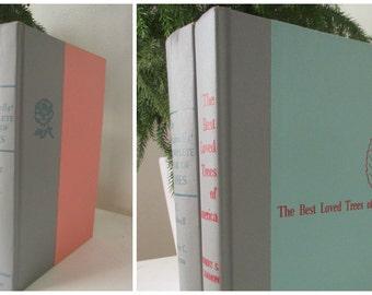 Set of two botanical books, decorative books, wedding decor