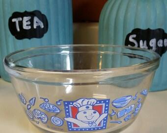 Pilsbury Doughboy Small Mixing Bowl/Anchor Ovenware 1 Qt/Pilsbury Promo/Clear Glass/Retro Design/Vintage 1994/Retro Kitchen Decor/Glass Bowl