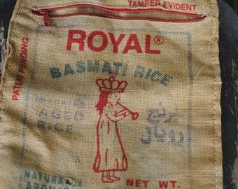 Royal Basmati Rice 11lb Burlap Tote Sack with Handles 1997/Craft Project/Burlap Bag/Shopping Bag