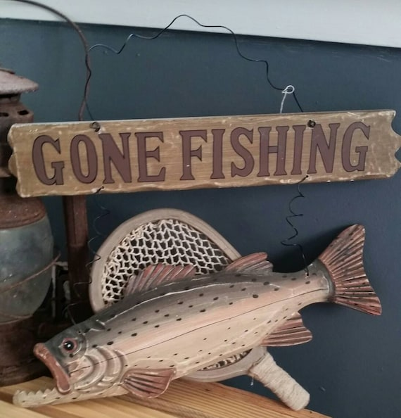 Gone Fishing Signs Decor: Gone Fishing Rustic Wood Hanging Sign Vintage 1990s/Rainbow