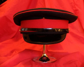Black and red 'military' style hat.