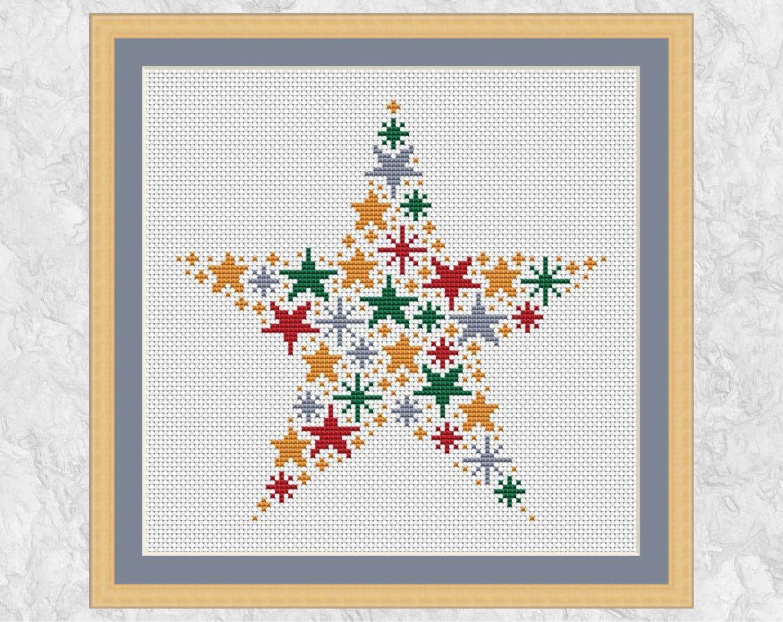 Christmas Star Cross Stitch Pattern Modern Christmas Cross