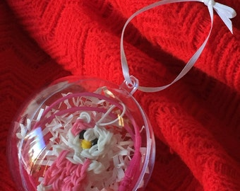 Rainbow Loom ornament - Hello Kitty necklace/ charm