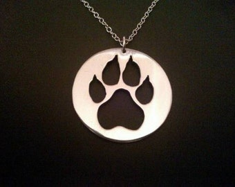 sterling silver paw print disk pendant 25mm x 20mm