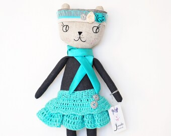 High Fashioned Cat Rag Doll - Plush cat - Handmade cat - Stuffed toy - plush doll - Cloth Doll - Fabric cat doll - Stuffed doll with crown