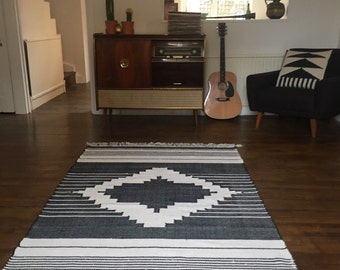 Hand made loomed kilim style rugs aztec style design