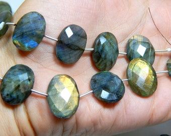 Labradorite Gemstone Faceted Oval Beads Size 13x14 to 17x18.mm Approx 1 string - 10.pcs  Code - 0485