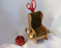 Vintage Pin Cushion, Miniature Rocking Chair, Scissor Caddy, Sewing Decor, Thread Caddy, Sewing Supply