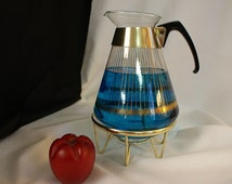 Vintage Coffee Carafe, Pyrex Carafe, Tea Carafe, Warming stand, Atomic Decor, Glass Coffee Pot, coffee decor