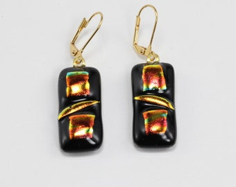 Fused Glass Earrings, Glass Earrings, Orange and Black Earrings