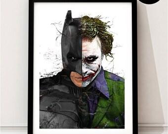 Batman & Joker Art Print, DC Superhero Inspired, Quote, Justice League Art, Suicide Squad, Batman v Superman, The Dark Knight