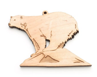 Ice Berg Polar Bear Christmas Ornament - American Maple Wood crafted by Nestled Pines Workshop