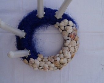 Seasonal wreath Advent wreath Christmas wreath Blue and white holiday decor Indoor decor Outdoor decor Seashell and sisal wreath with candle