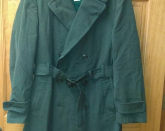 Vintage US Army AG-44 Men's Trench Overcoat Green Heavy Wool Gabardine Sz 36 L Military Removable Liner