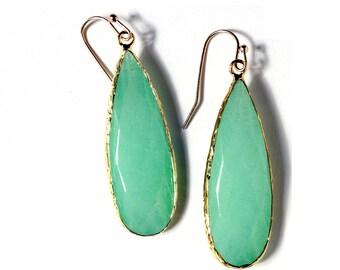 Amazonite Earrings - Blue Green Teardrop Earrings