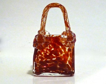 MURANO GLASS PURSE ~ Hand Crafted ~ Mouth Blown Glass ~ Beautiful Crisp Red Swirl ~ Florets At Handles ~ Vintage 1970s