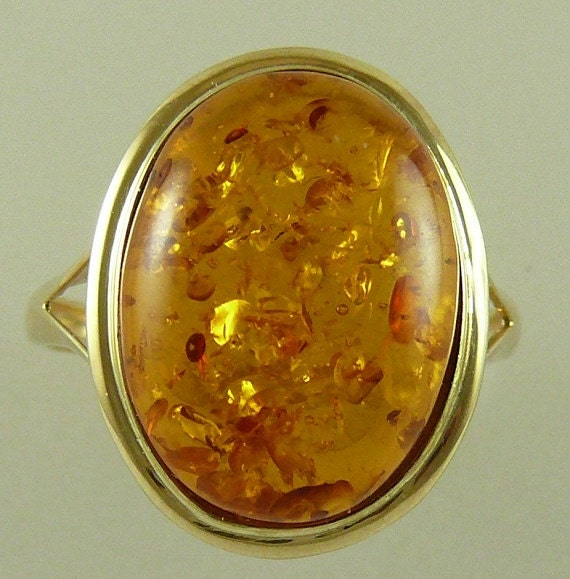 Amber 15.6 mm x 11.8 mm Ring 14k Yellow Gold Size Selectable