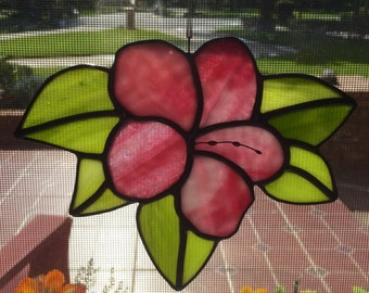 Pink Stained Glass Hibiscus Flower Suncatcher Home Decor